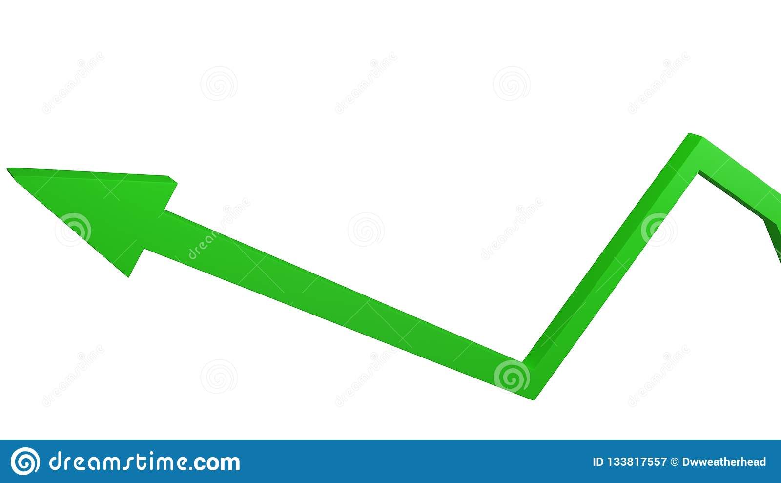 Green arrow representing concept of economic growth and business success isolated on white