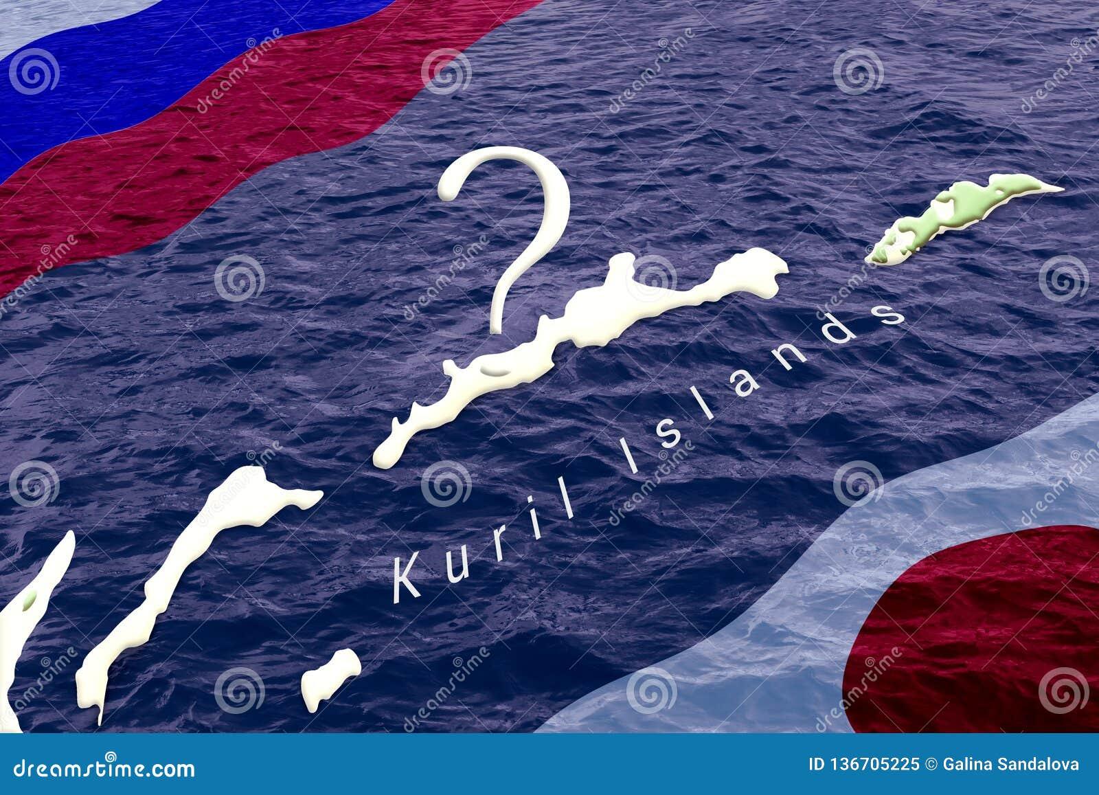 Concept een lang territoriaal geschil en onderhandelingen tussen Rusland en Japan over de eigendom van de Kuril Eilanden russisch