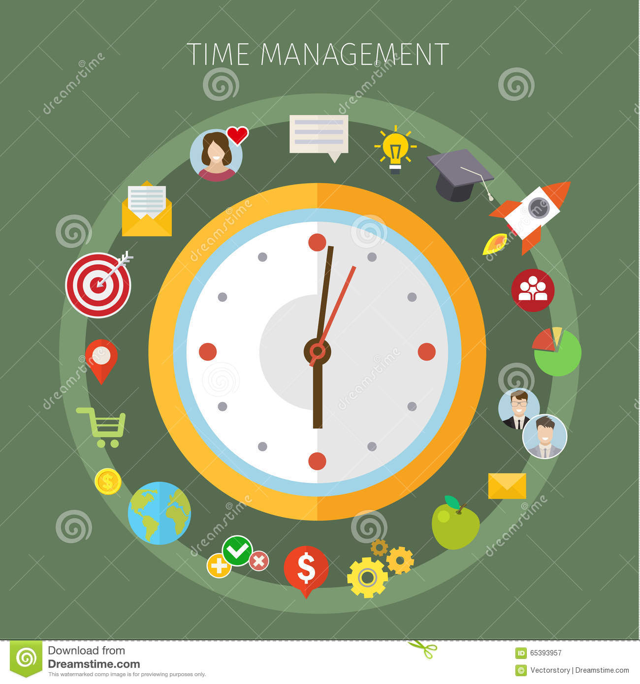Time Management: Concept Of Effective Time Management Stock Vector