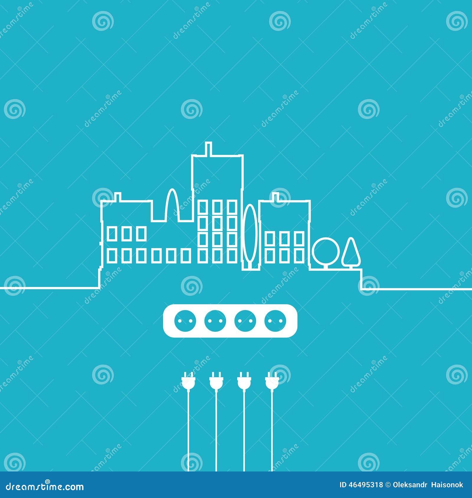 concept electric circuit city vector flat design stock vector