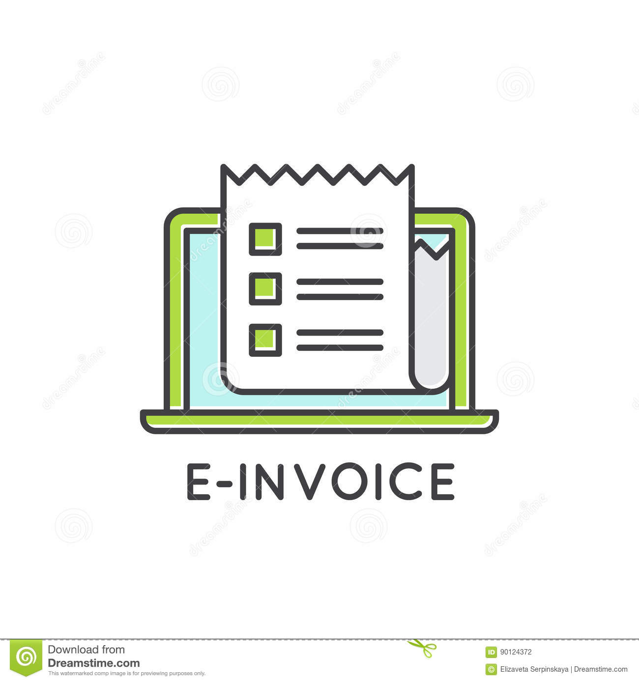 concept of electronic e invoice mail paper inbox mobile netbank