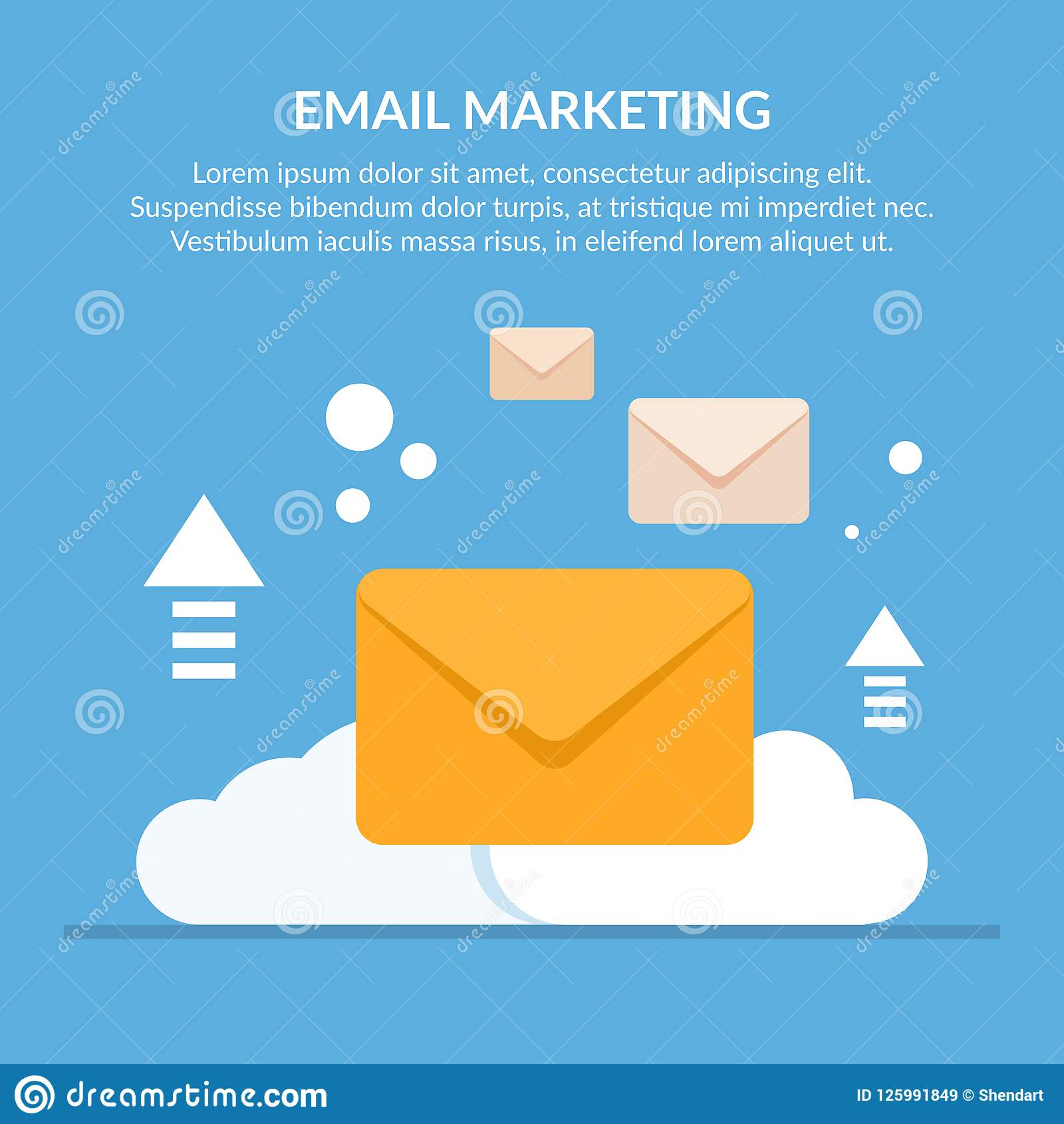 concept of email marketing mail envelopes against the background of