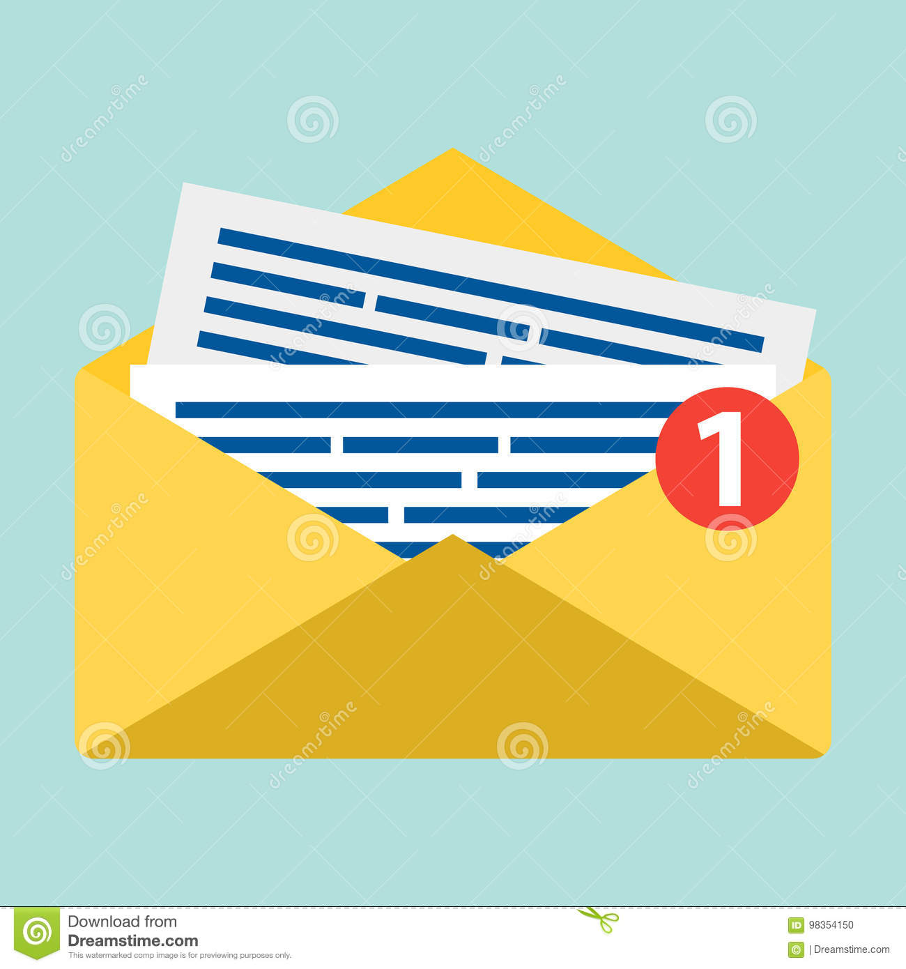 concept of email notification icon. letter in yellow cover. flat