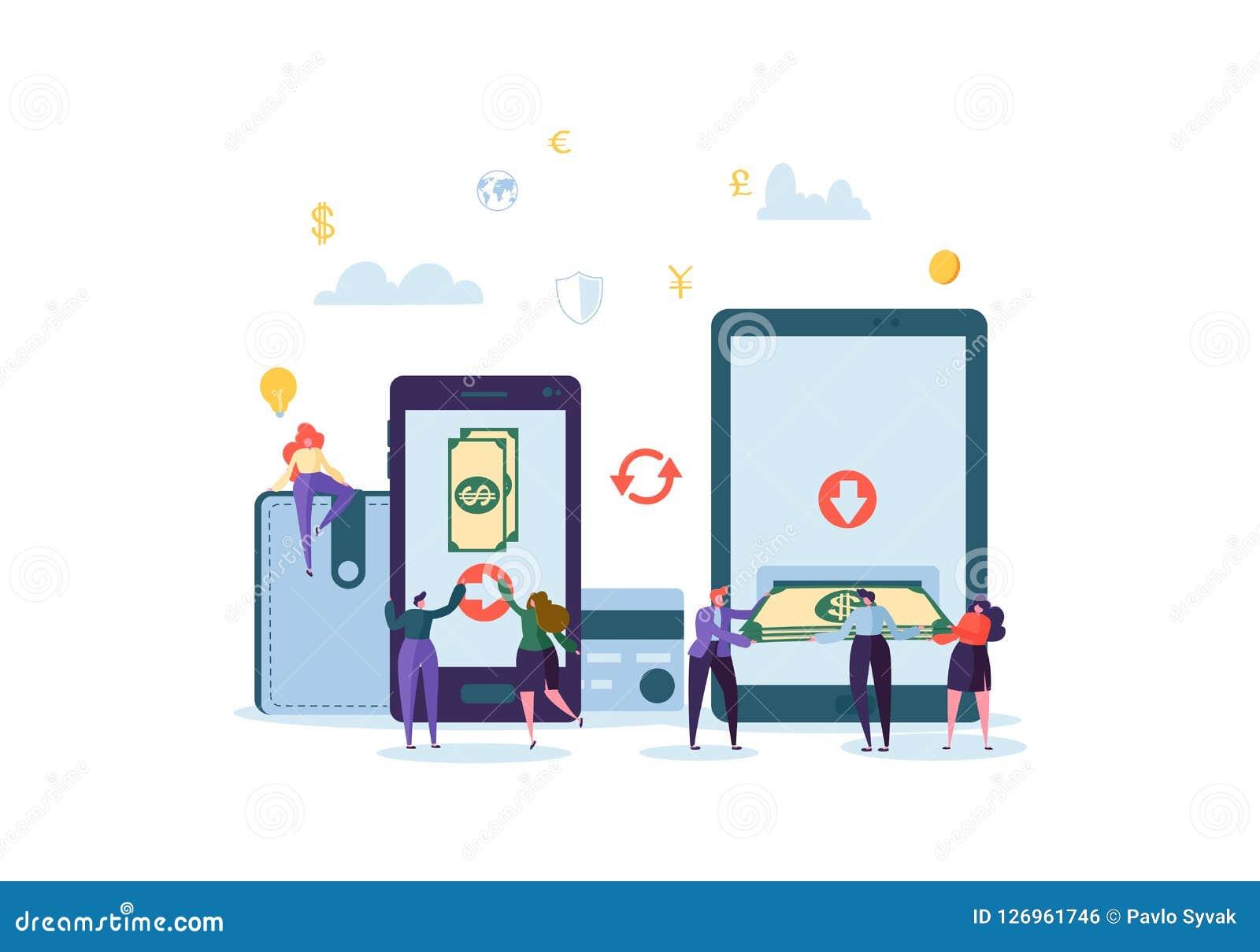 Concept en ligne d opérations bancaires Caractères plats de personnes envoyant l argent de la carte de crédit par application mob