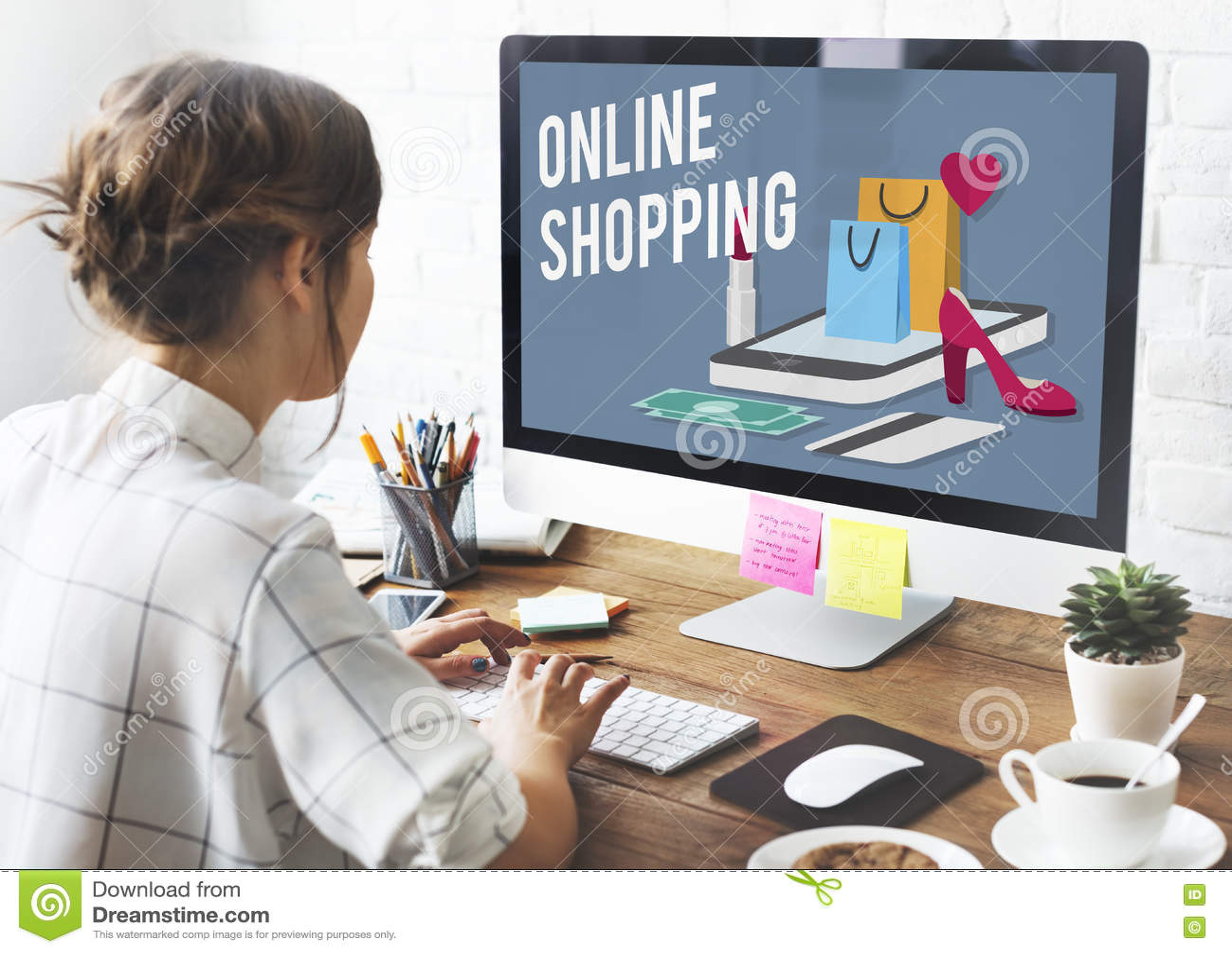 Concept en ligne de achat d achats en ligne de commerce électronique de Shopaholics