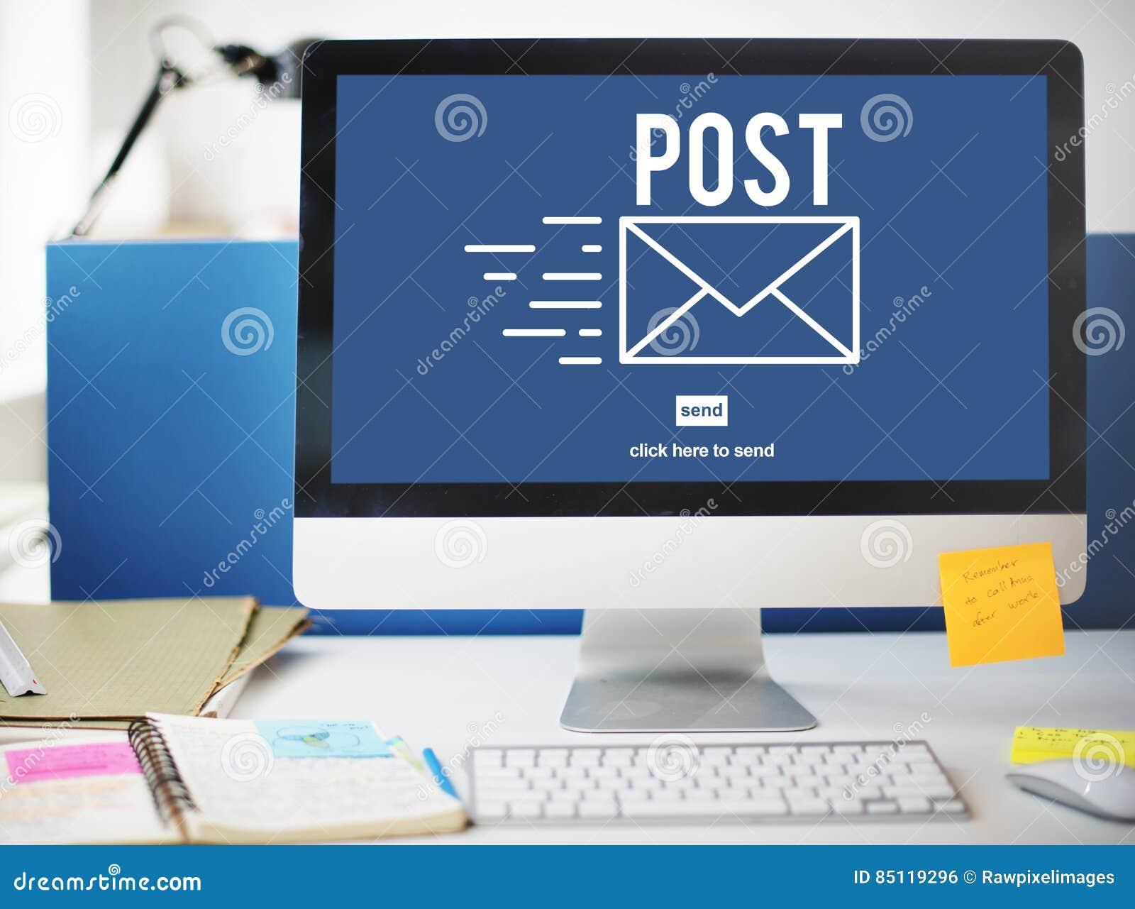 Concept en ligne de communication de message de correspondance de courrier de courrier