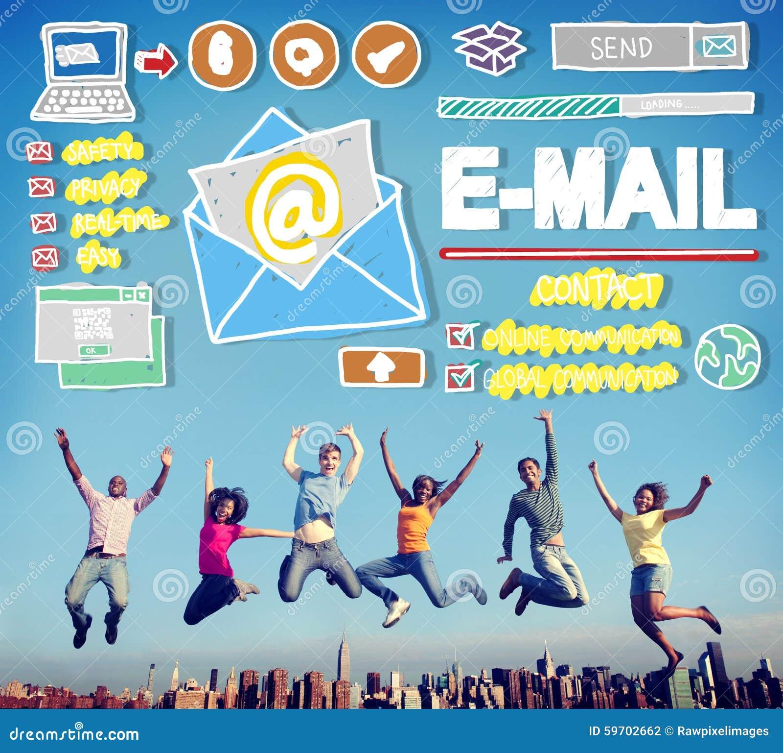 Concept en ligne de correspondance de transmission de messages d email