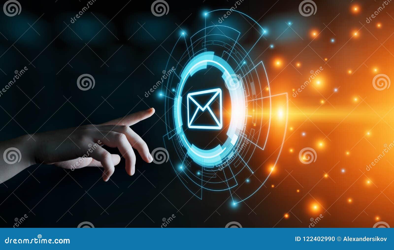 Concept en ligne de réseau de technologie d Internet d affaires de causerie de communication de courrier d email de message