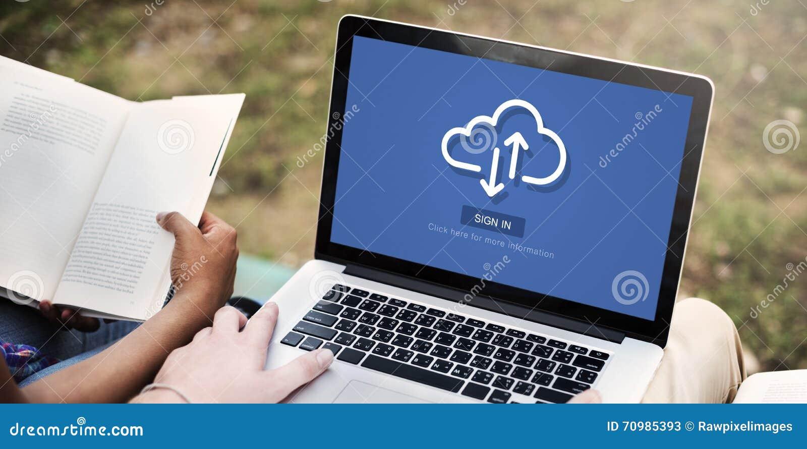 Concept en ligne de technologie de communication de stockage de nuage