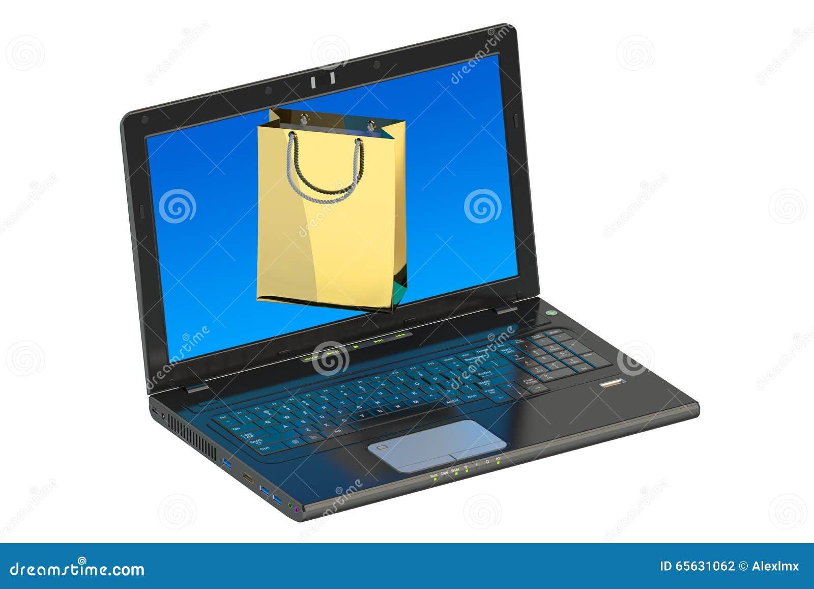 Concept en ligne, ordinateur portable et panier d achats d Internet