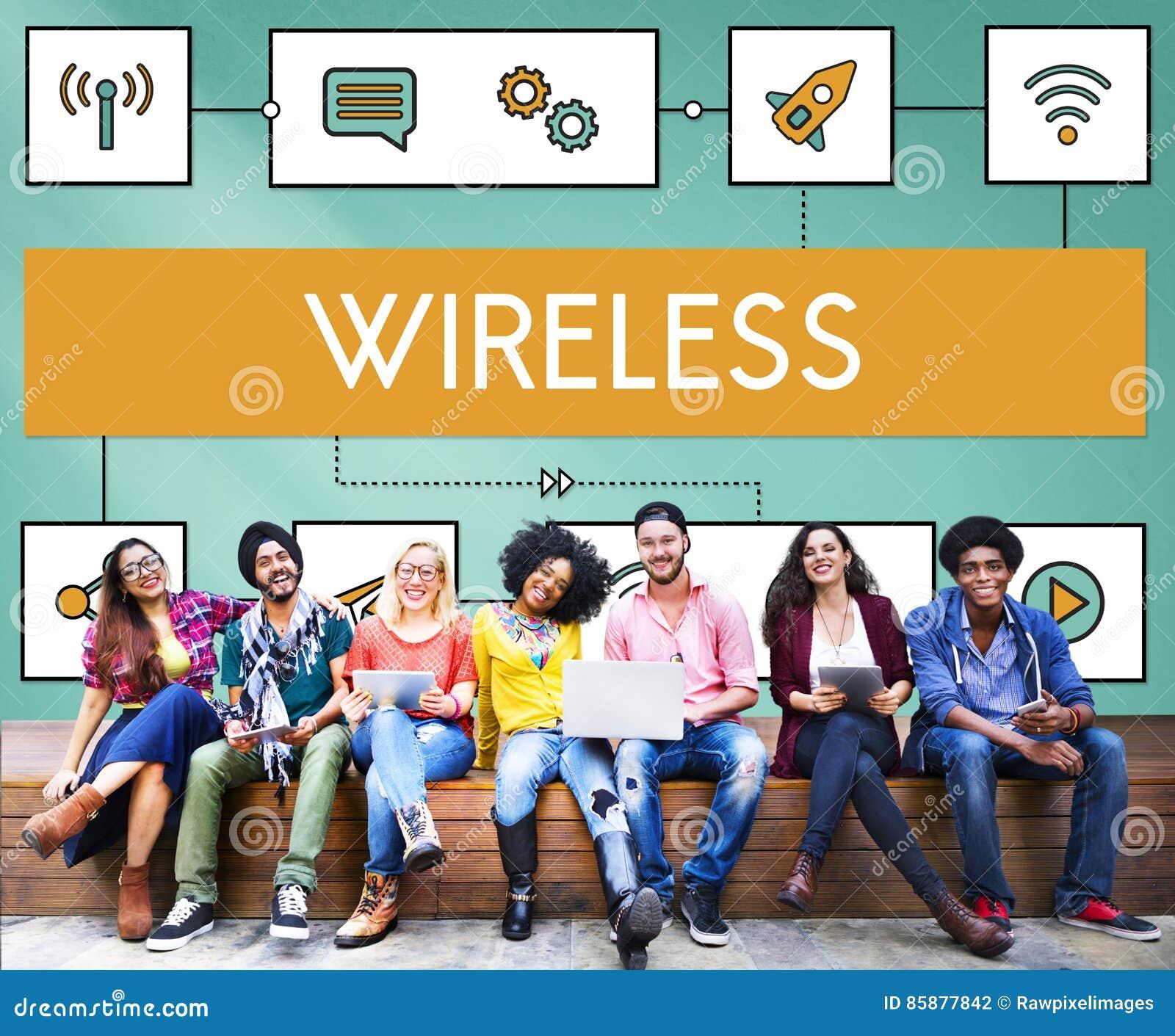 Concept en ligne sans fil de transfert de transmission de connexion