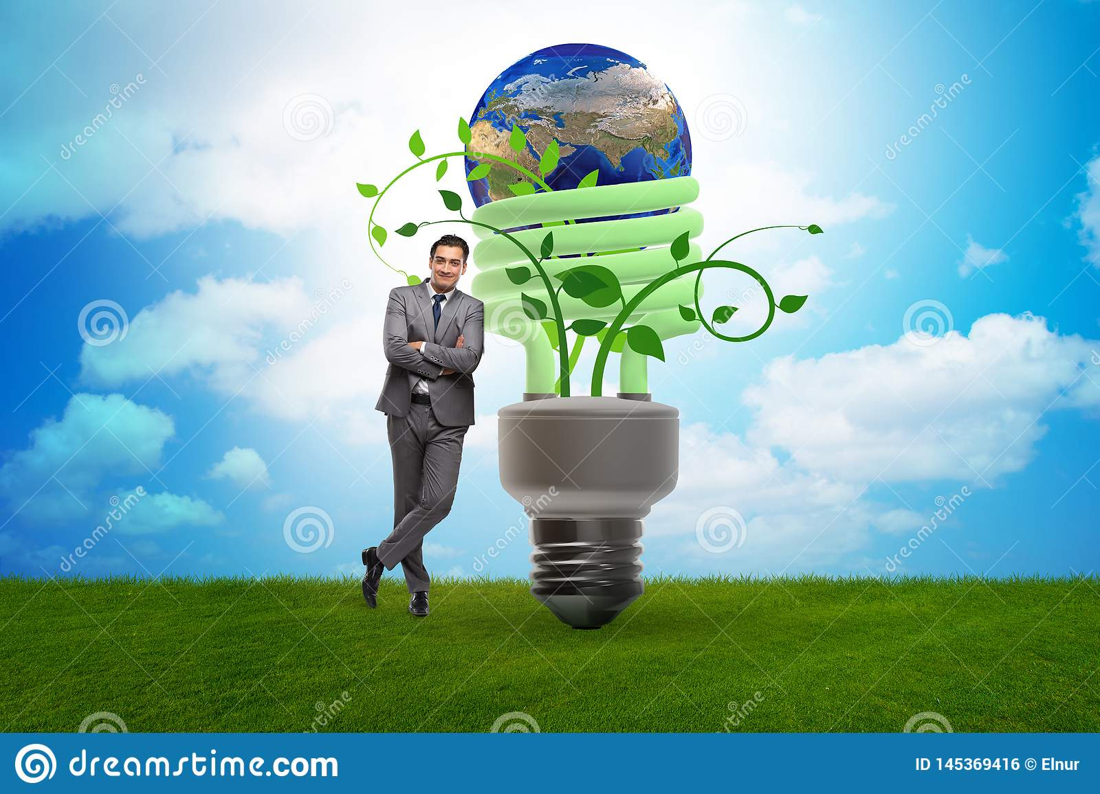 The concept of energy efficiency with lightbulb