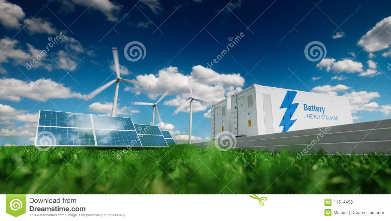Concept of energy storage system. Renewable energy - photovoltaics, wind turbines and Li-ion battery container in fresh nature. 3