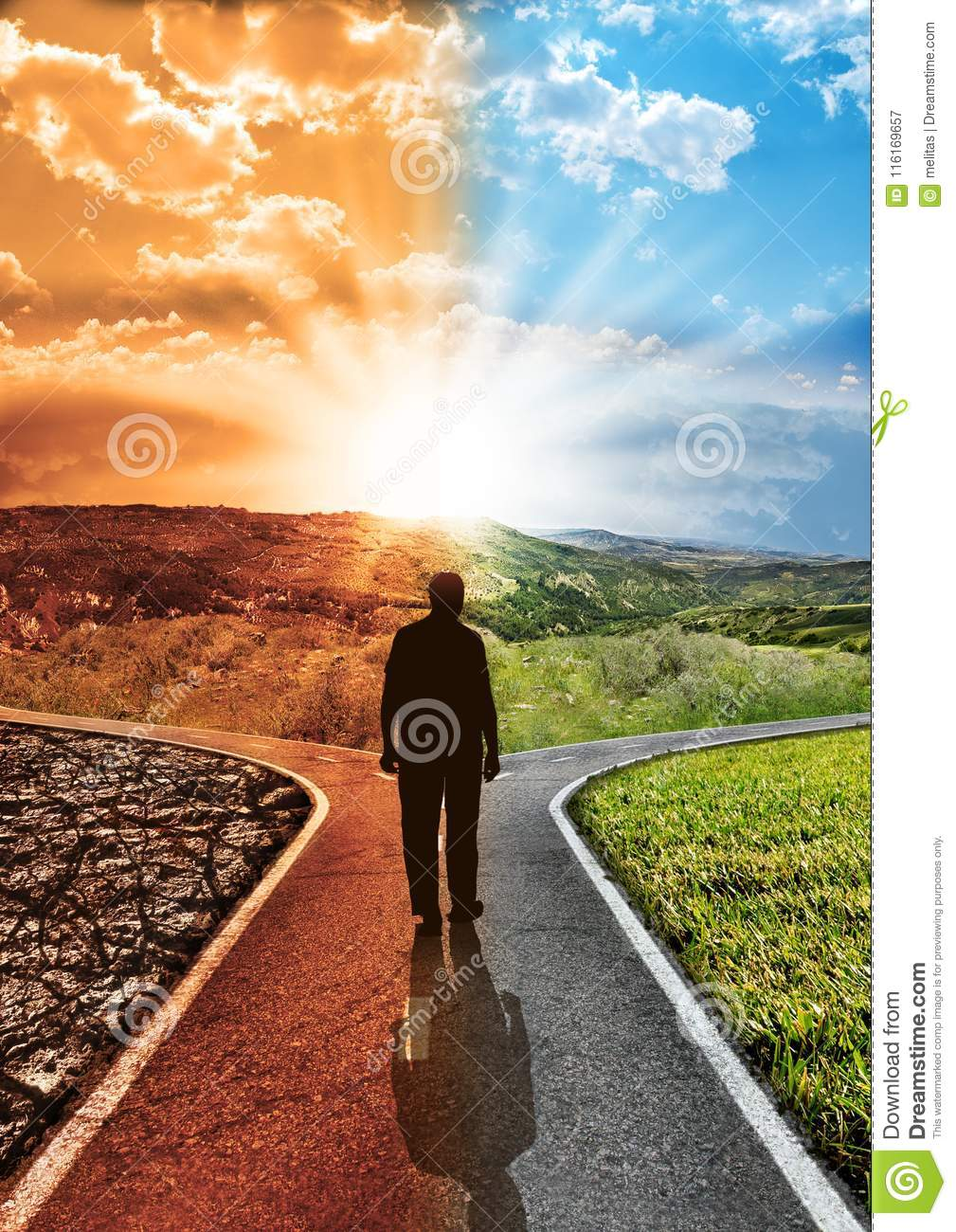 Concept responsibility environmental impact climate change and global warming with silhouette man who chooses walking on a paved j
