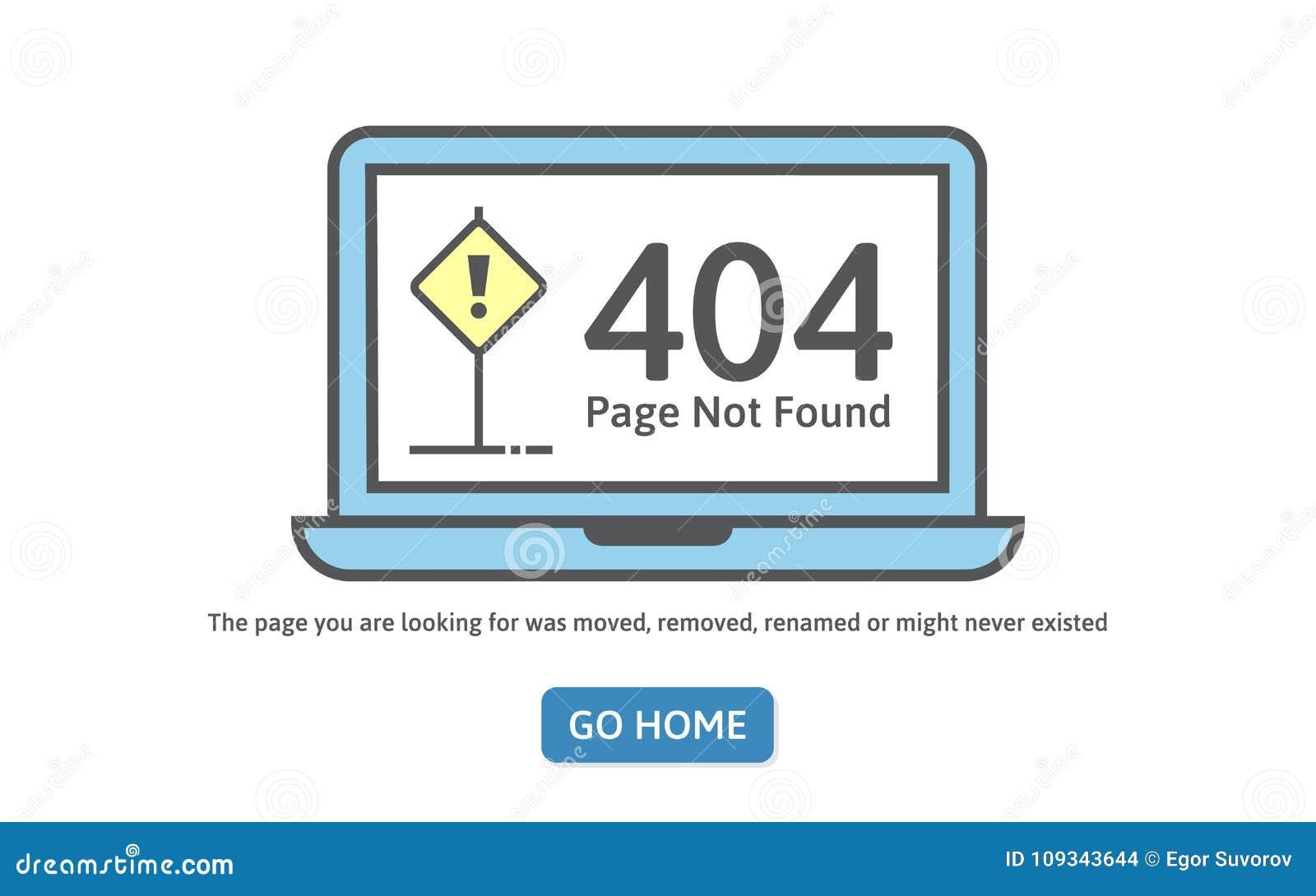 404 concept error line icon page not found error on blue laptop