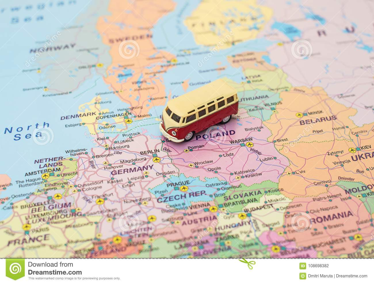 Calais Europe Map.Concept Of Europe Car Trip Stock Photo Image Of Road Microbus