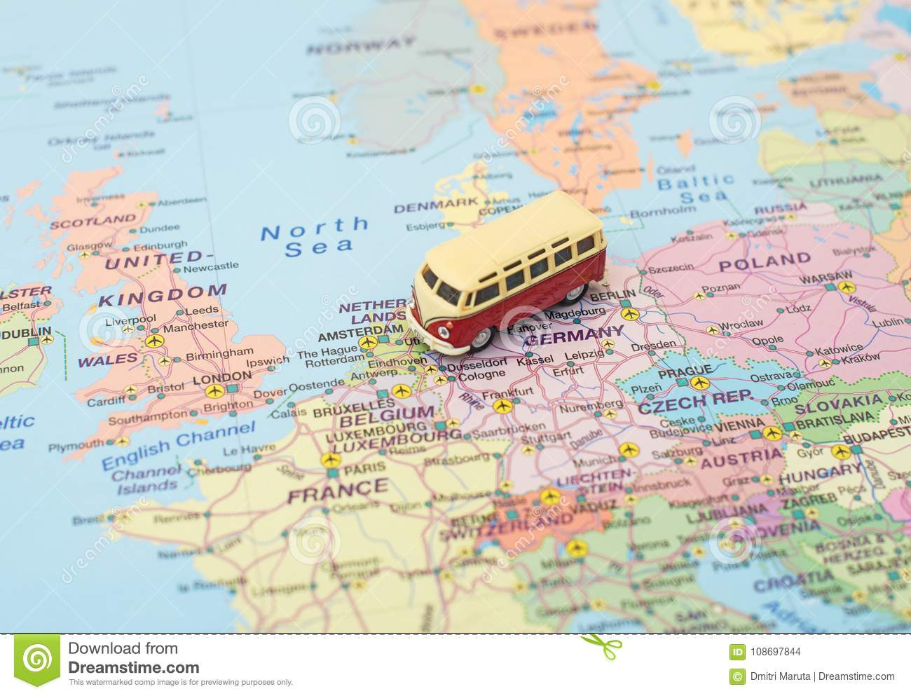 Calais Europe Map.Concept Of Europe Car Trip Stock Photo Image Of Summer