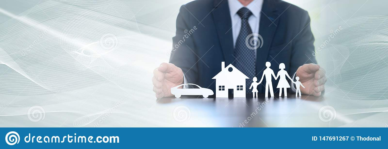 Concept of family, home and car insurance. panoramic banner