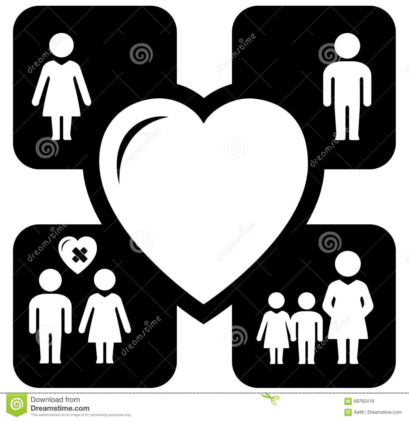 Set Of Four Family/love Icons Cartoon Vector ...