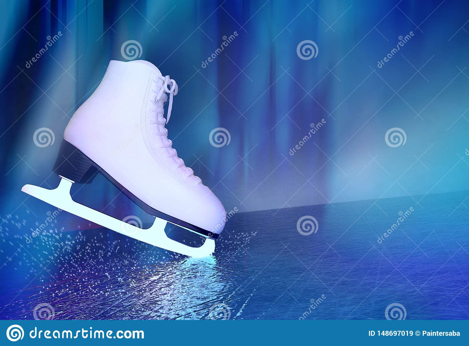 Concept of figure skating. The skates for figure skating located on skating rink