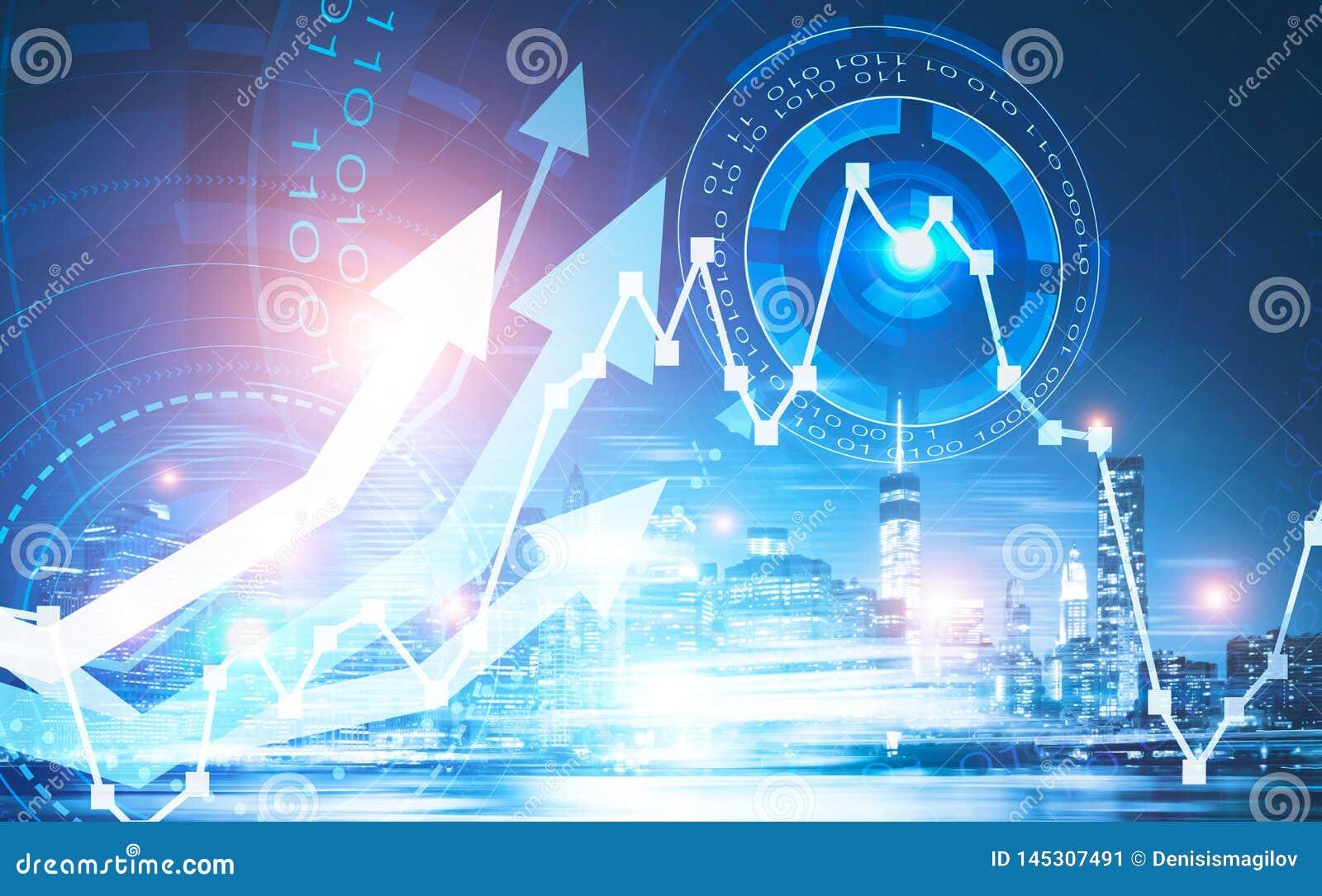 Concept financier abstrait de croissance et de technologie