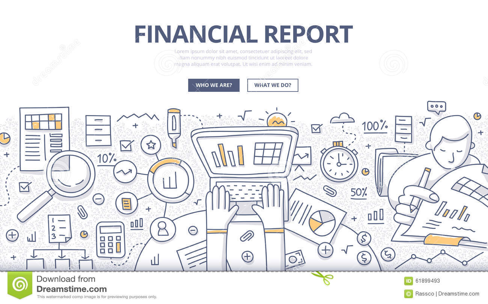 Concept financier de griffonnage de rapport