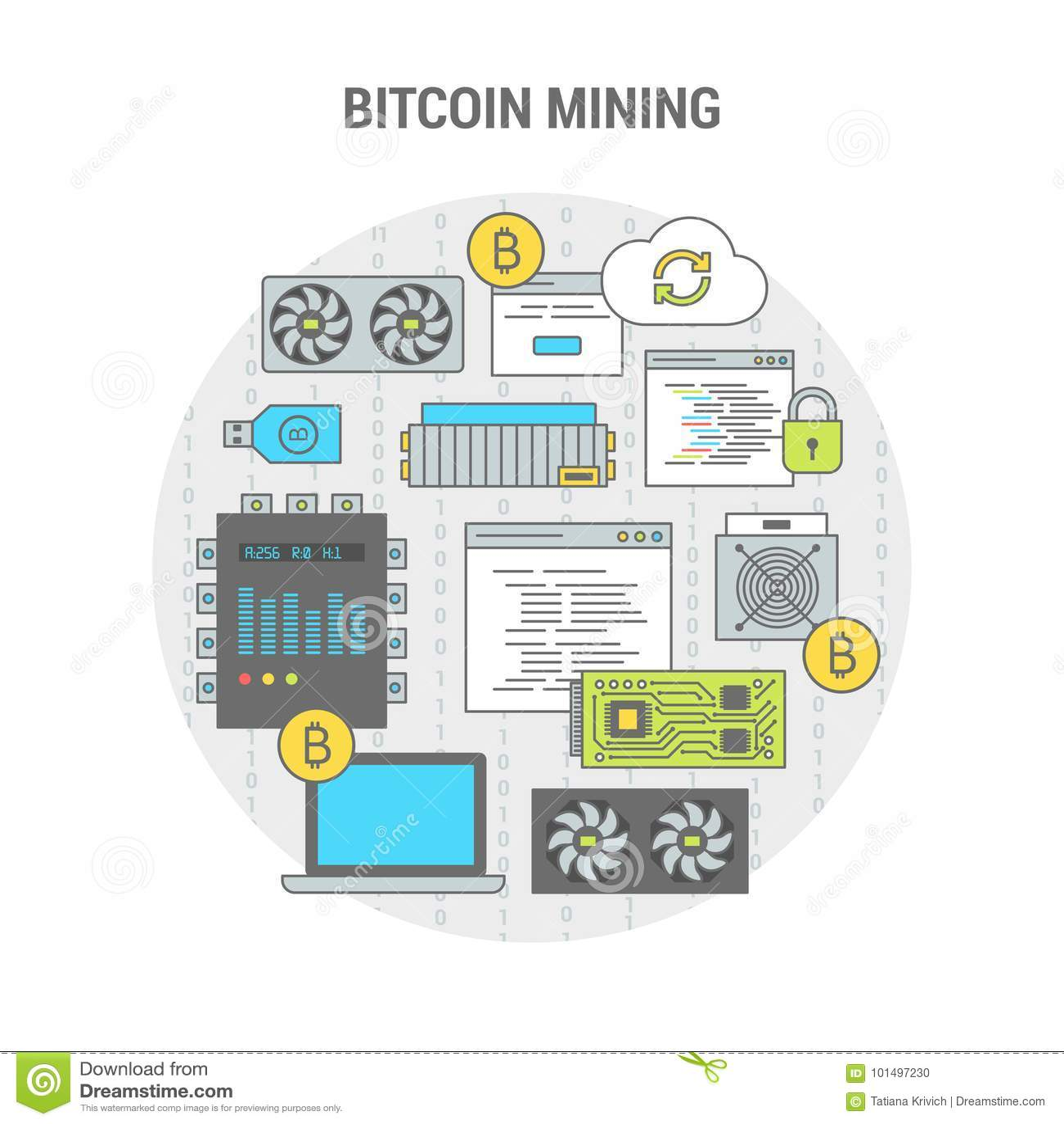 Concept Flat Banner Scheme Bitcoin Mining Stock Vector