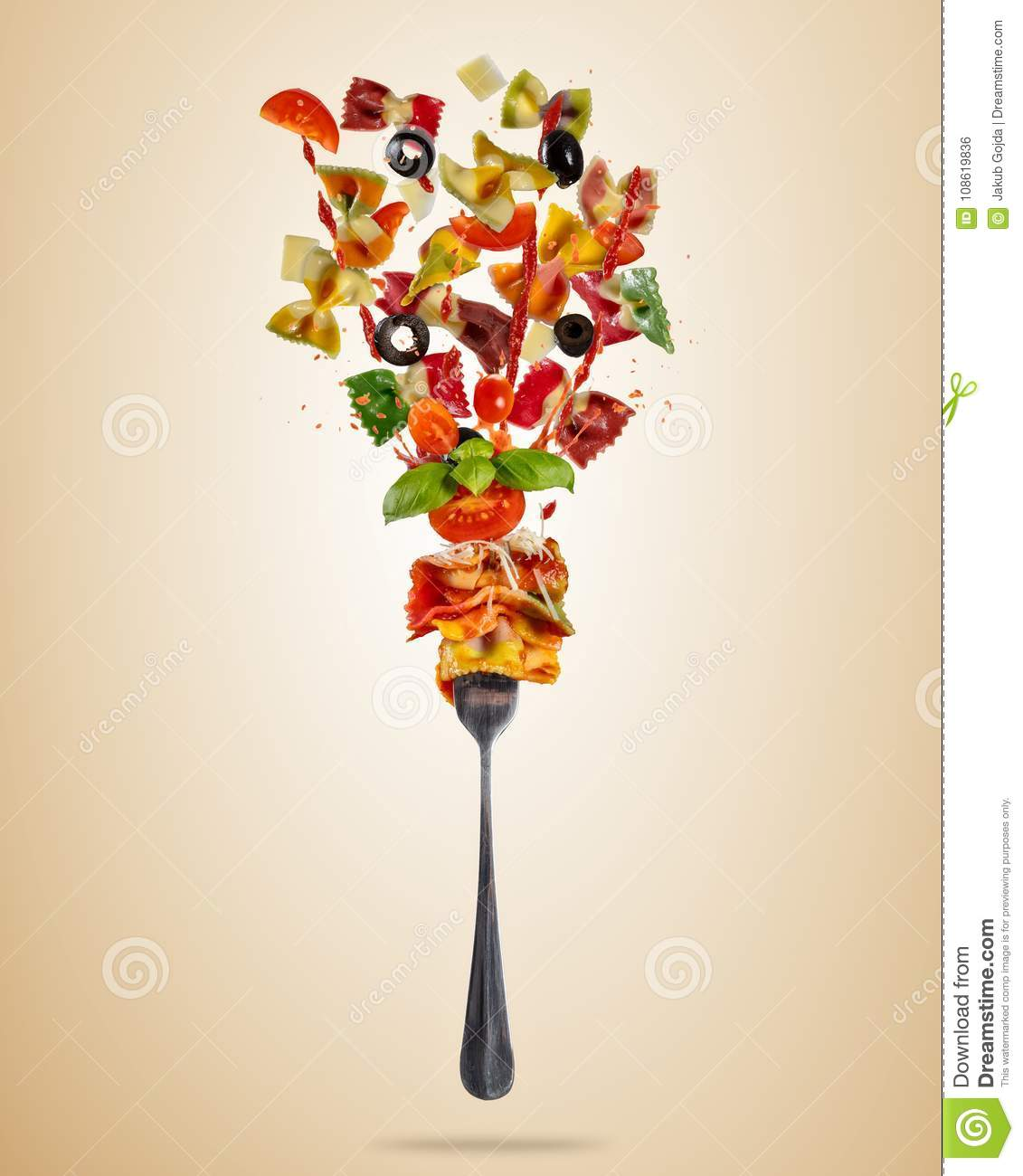 Concept Of Flying Food With Fork And Traditional Italian Farfall