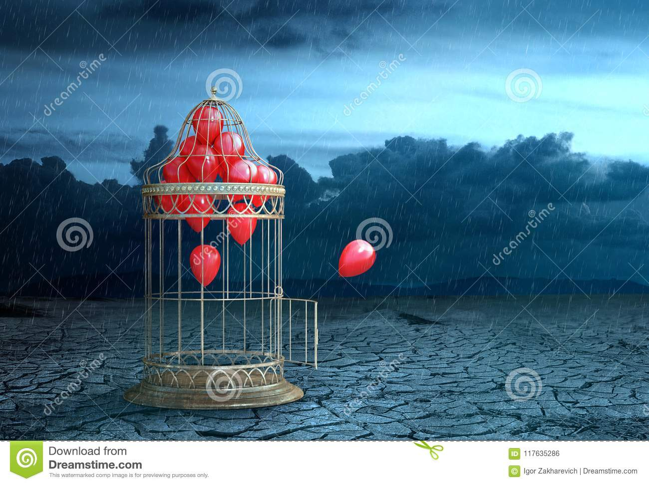 Download Concept Of Freedom. Air Ball Fly Out Of The Cage Stock Photo - Image of life, abstract: 117635286