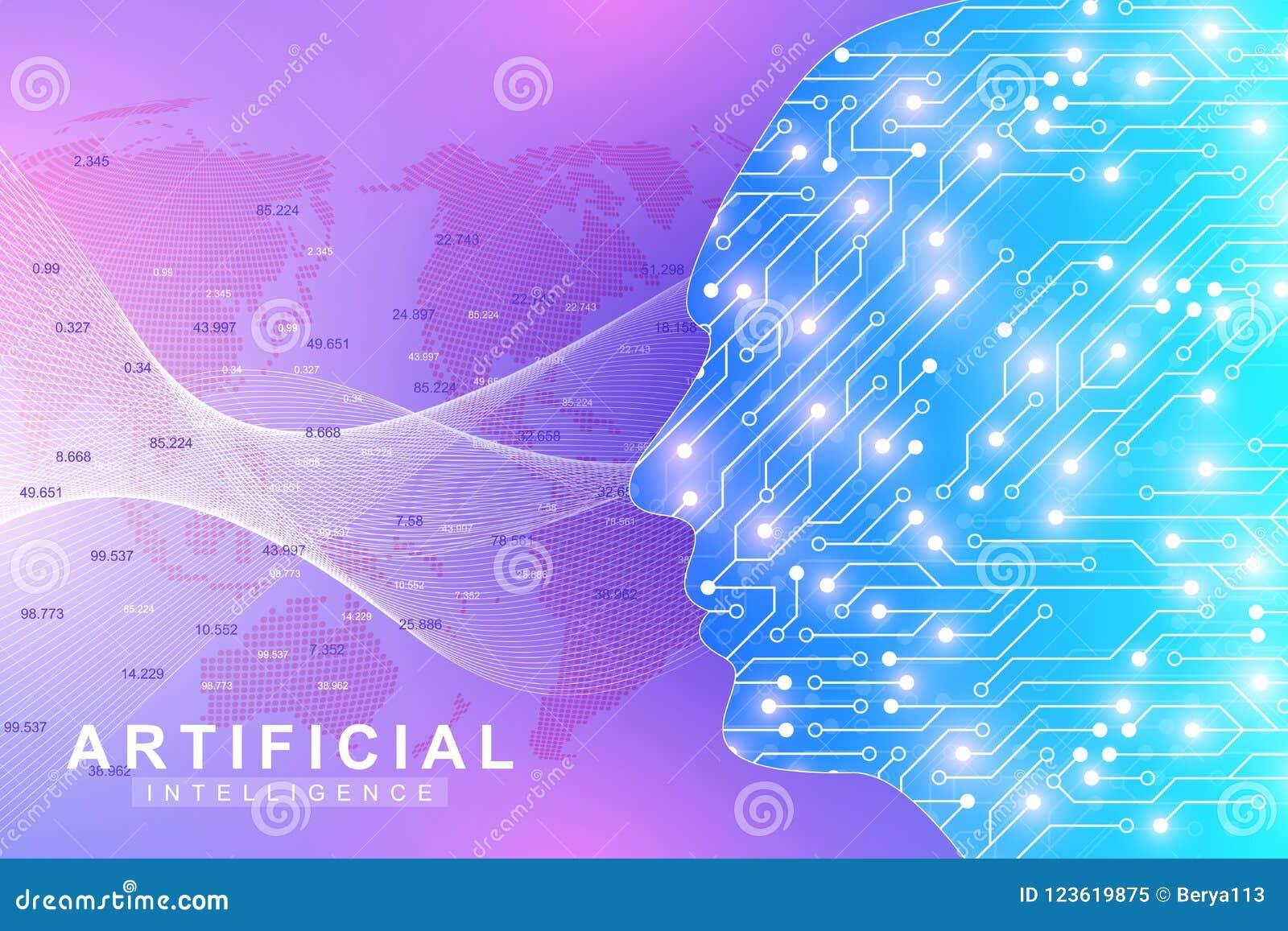 Concept futuriste d intelligence artificielle et d apprentissage automatique Grande visualisation humaine de données Communicatio
