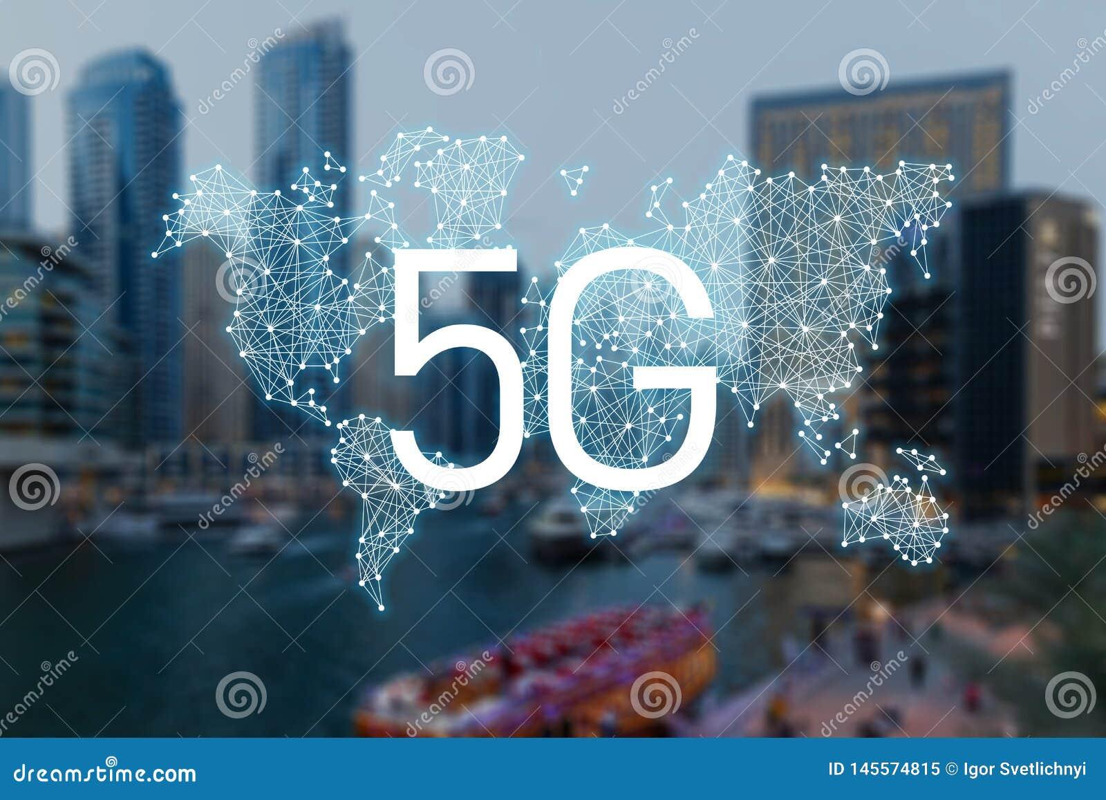 Concept 5g de technologie de connexion internet
