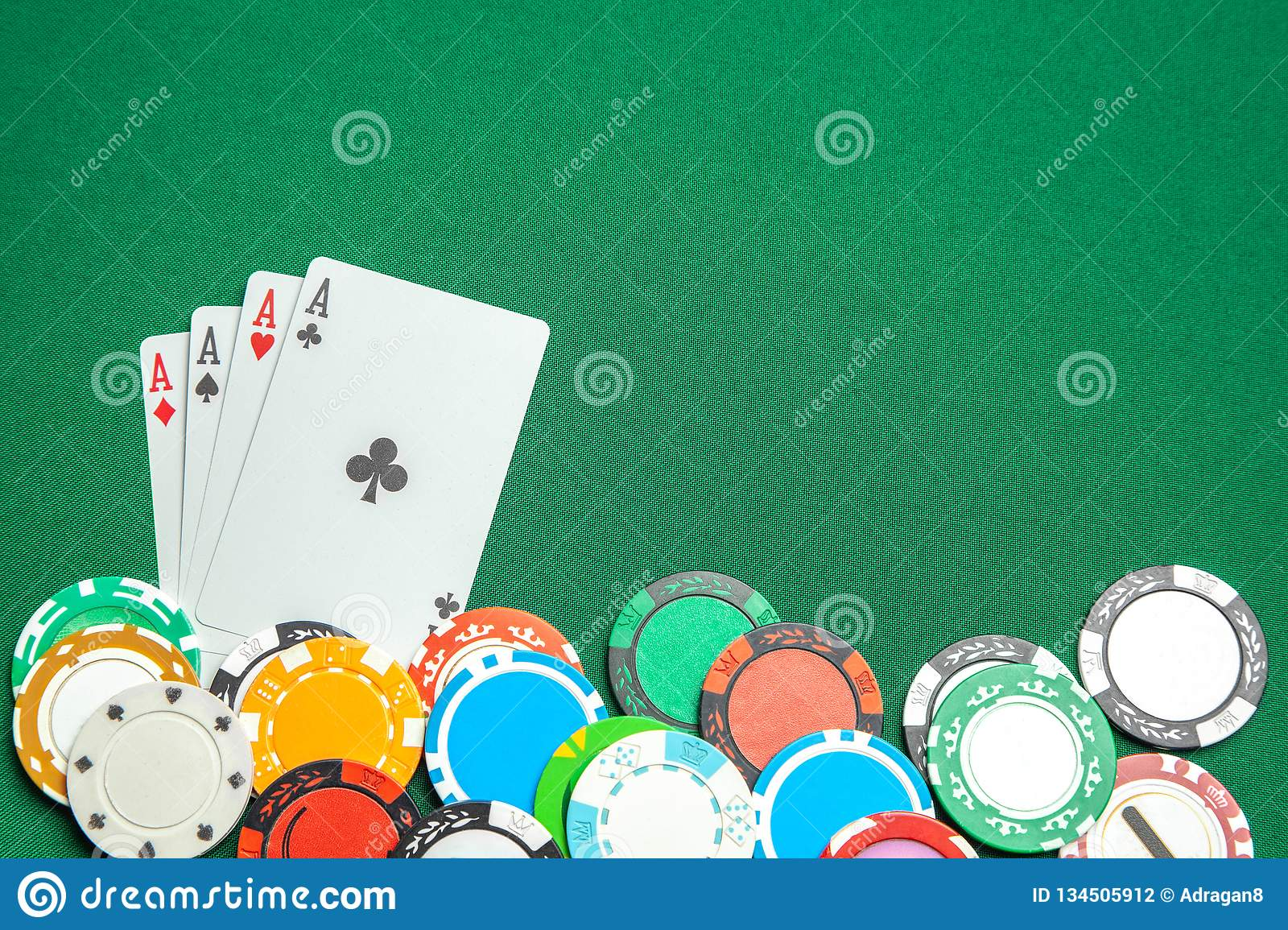Concept Of Gambling In Casino, Sports Poker. Game Cards And Colored Chips  On Green Gaming Table. Copy Space For Text. Stock Photo - Image of risk,  heart: 134505912