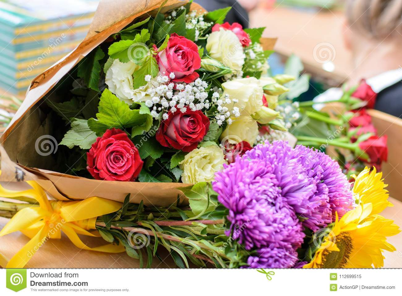 Concept Of Getting Bouquets Of Flowers On Birthday The First Of