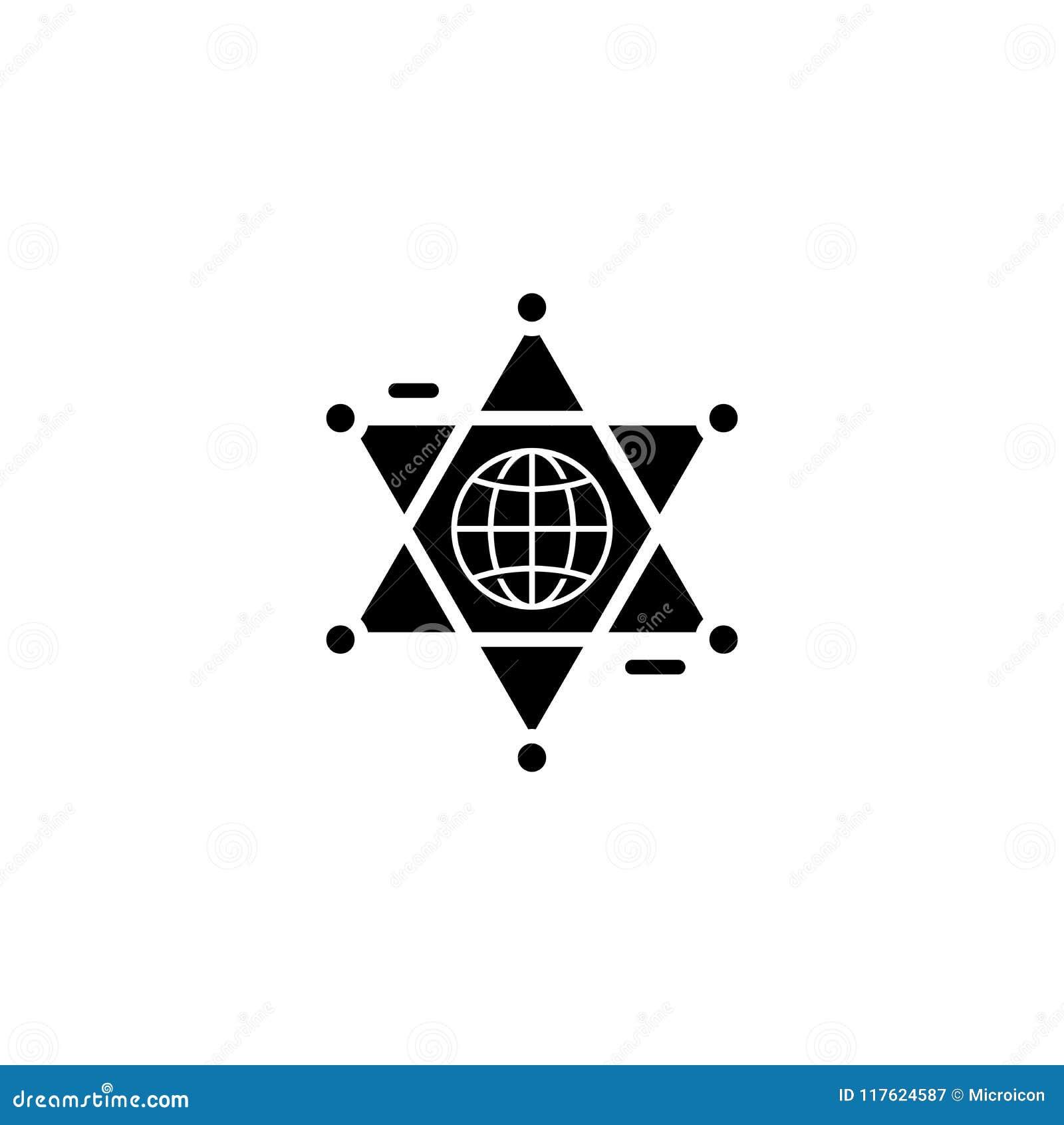 Concept global d icône de noir de coopération Symbole plat de vecteur de coopération globale, signe, illustration