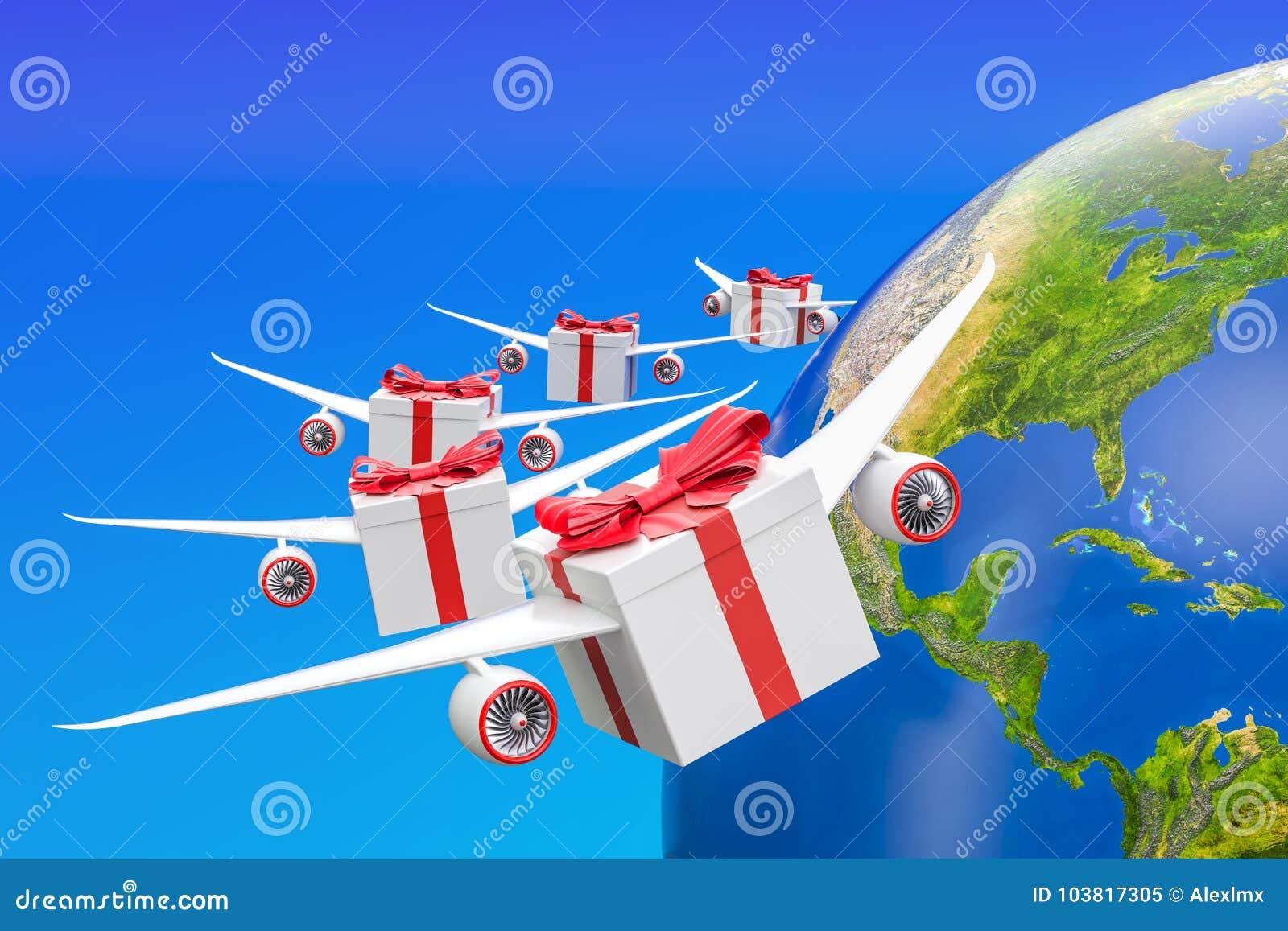 Concept global de la livraison de cadeau Boîte-cadeau avec des ailes volant en Th