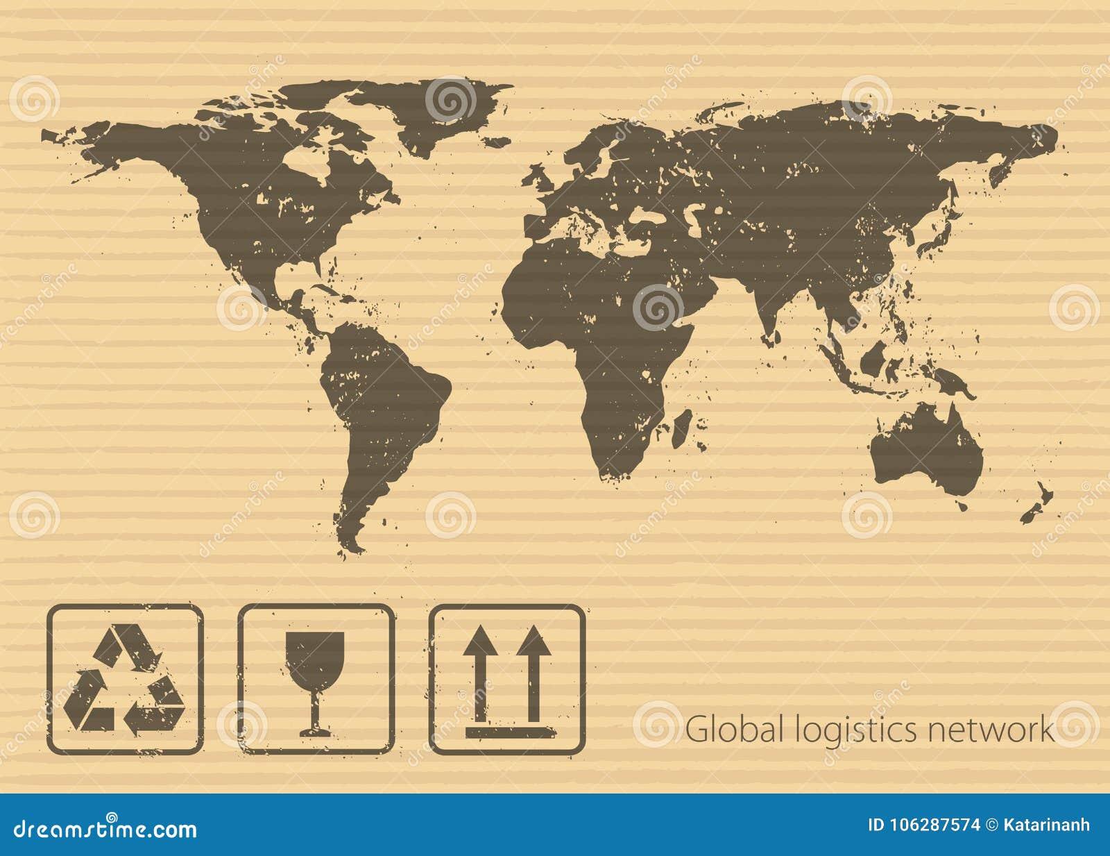 Concept Global De Réseau De Logistique Symboles De Carte Et