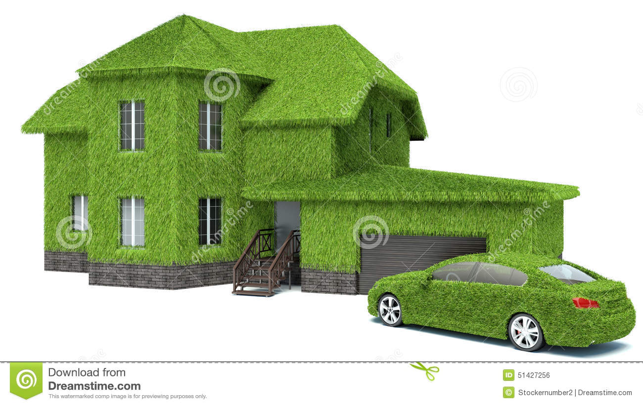 Concept Green Eco House Isolated On White Background