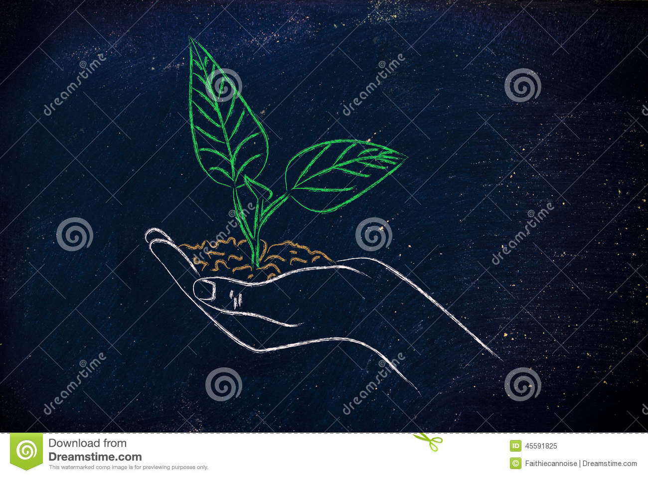 Concept of green economy, hands holding new plant