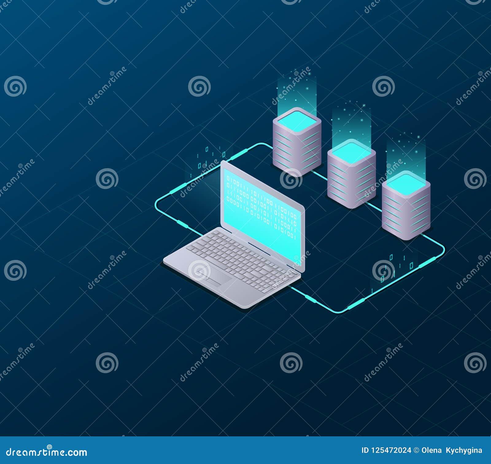 Concept grote gegevens - verwerking, Web het ontvangen en serverruimte, computer Internet-netwerkmededeling Grote Gegevenssynchro