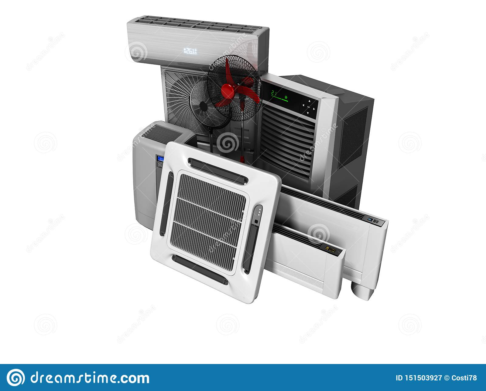 Concept Group Of Equipment For Cooling And Air Conditioning And