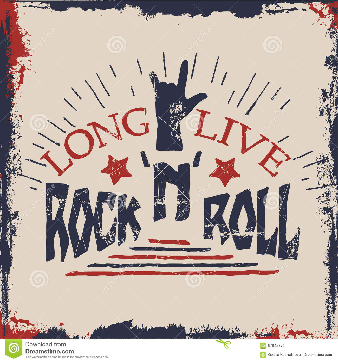 Rock n roll poster design - Concept Hand Lettering Musical Quote Long Live Rock N Roll Label Design For T Shirts Posters Logos Covers Vector