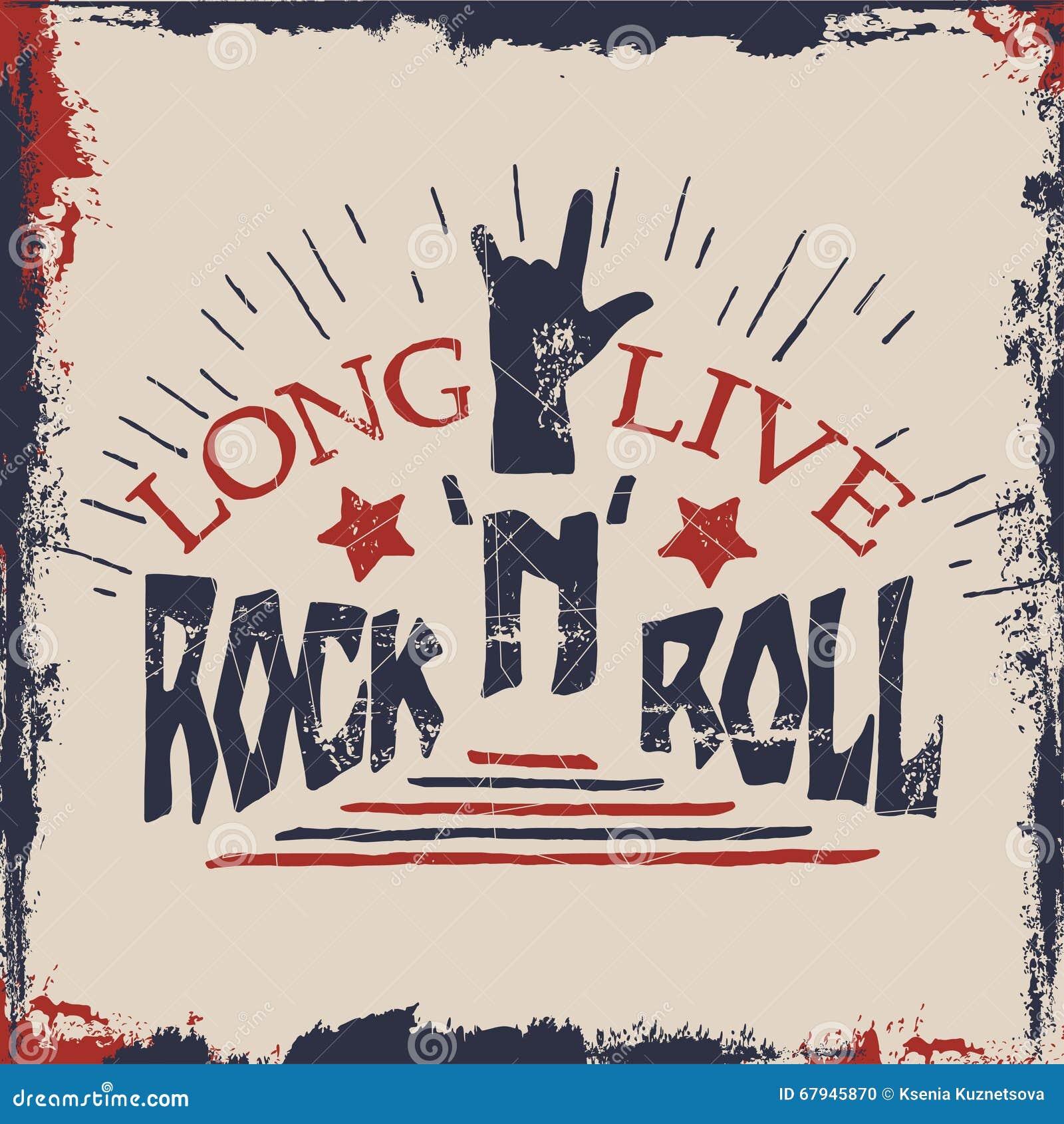 Rock n roll poster design - Design Hand Illustration Label Lettering Live Musical Quote Rock Roll