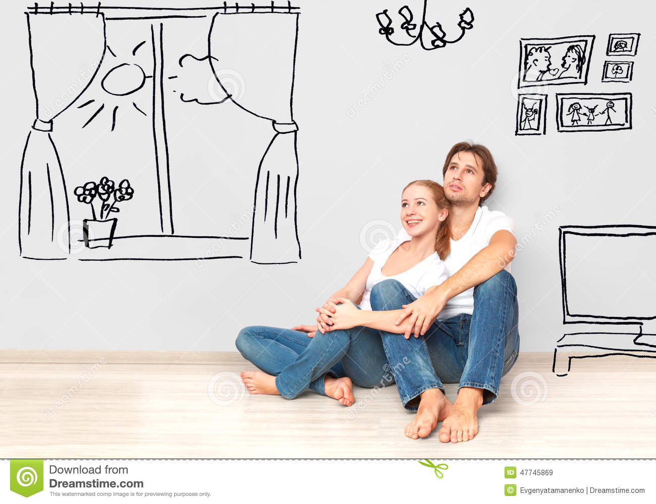 Concept Happy Couple In New Apartment Dream And Plan