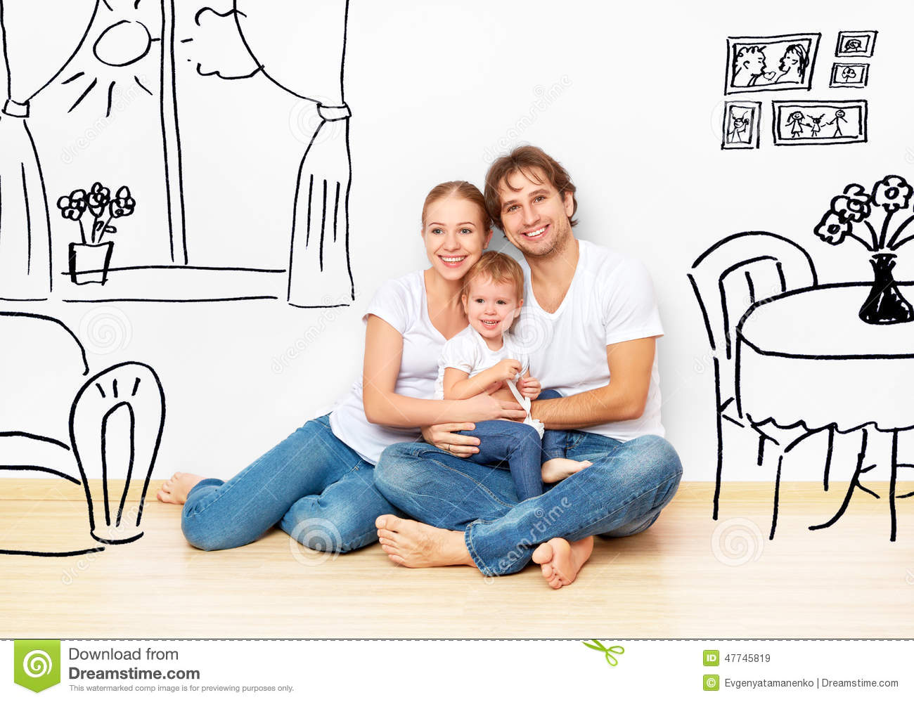 Concept happy young family in new apartment dream and for Family sogno