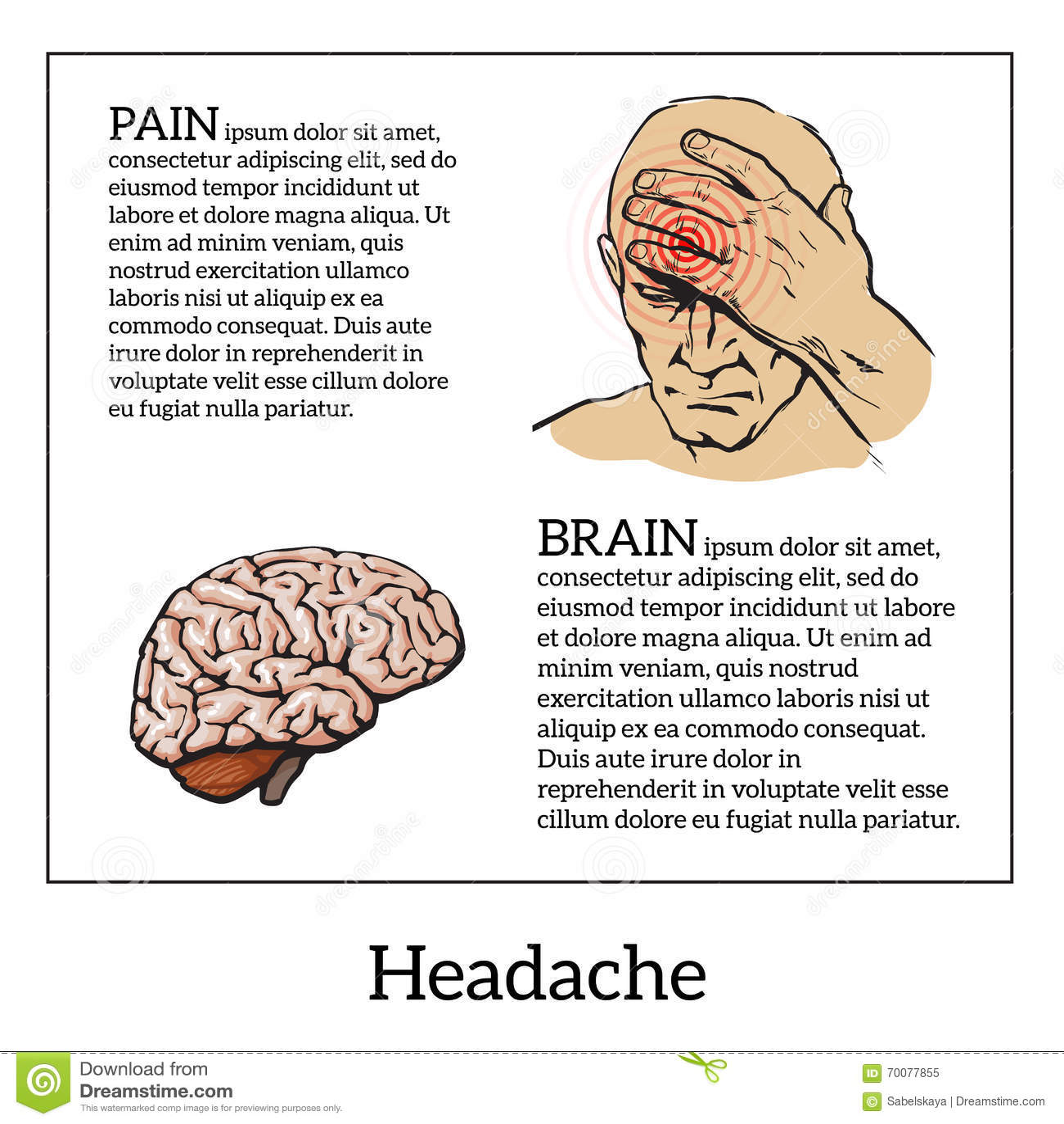 Concept headache, sketch illustration