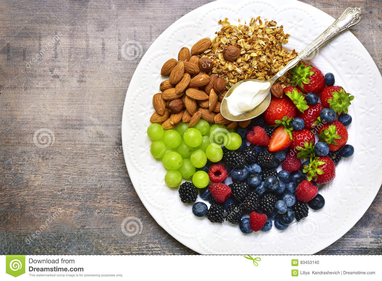 Concept of healthy breakfast : granola,nuts,fresh berries and yo