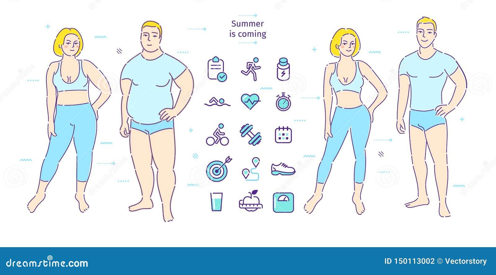 Concept healthy lifestyle Жирные человек и женщина потерять вес Before and after