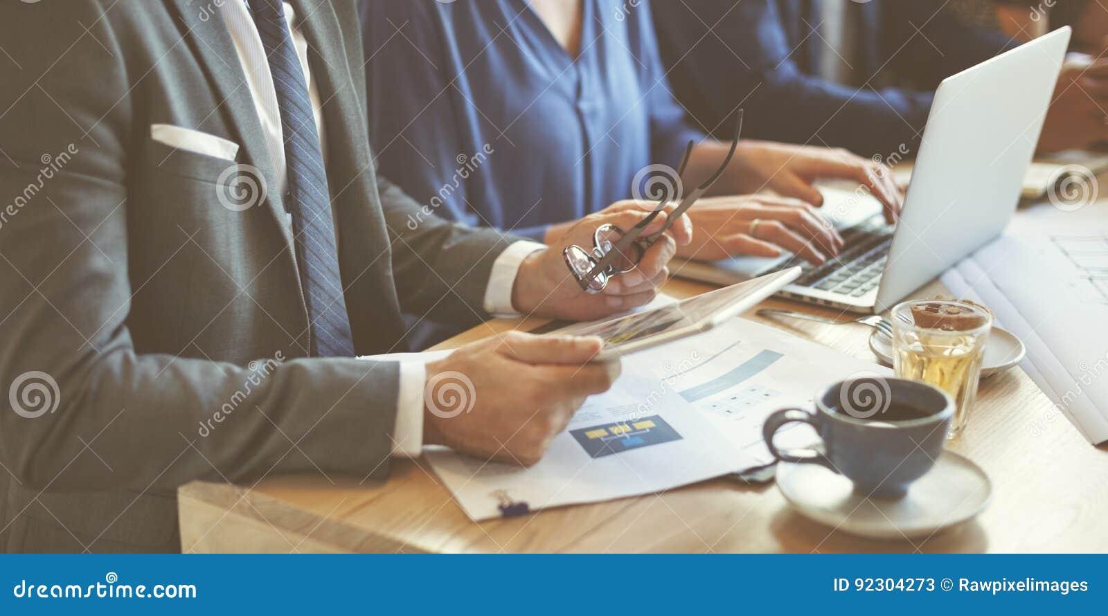 Concept het bedrijfs van Team Meeting Strategy Marketing Cafe
