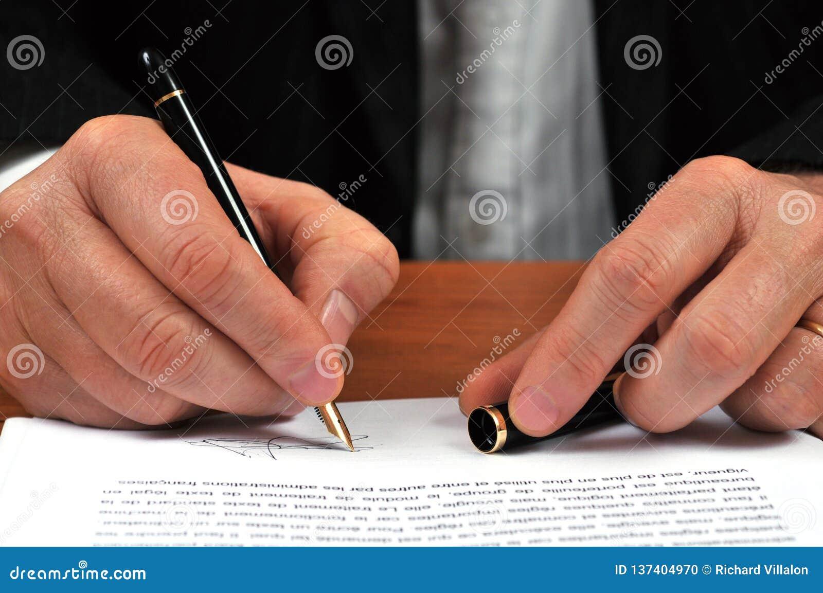 Concept het ondertekenen van een contract