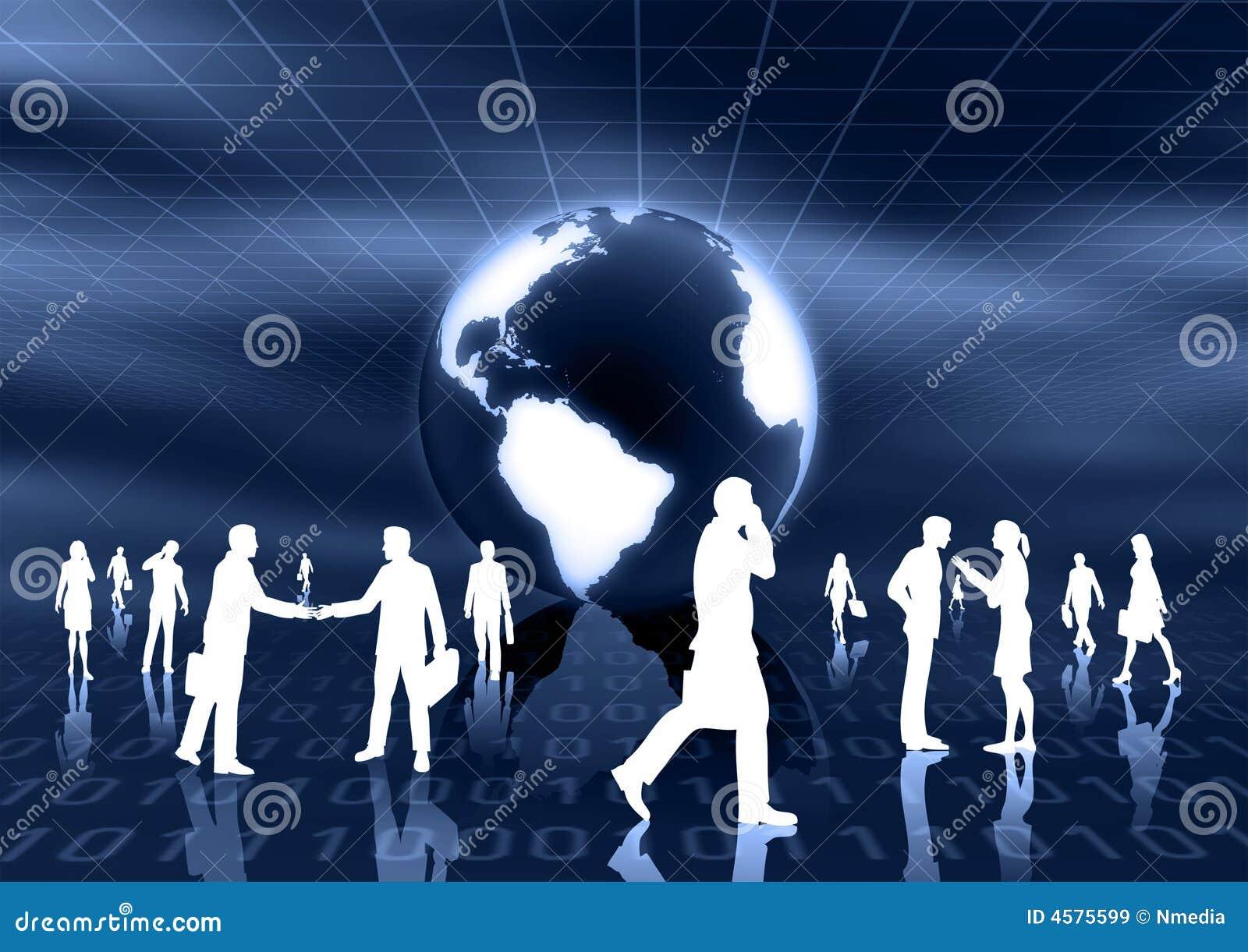 Concept het wereldwijd van het E-business
